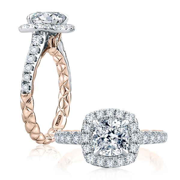A. Jaffe Modern Royal Halo Engagement Ring Setting in White and Rose Gold Image 3 Bremer Jewelry Peoria, IL