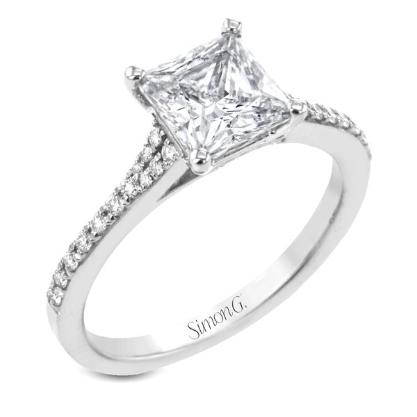 Simon G. Princess Cut Diamond Engagement Ring Setting in White Gold Bremer Jewelry Peoria, IL