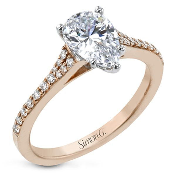 Simon G. Pear Diamond Engagement Ring Setting in Rose Gold Bremer Jewelry Peoria, IL