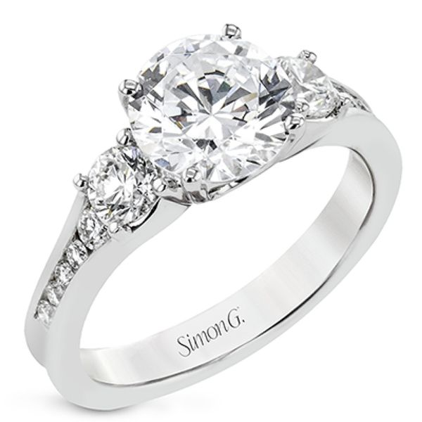 Simon G. Three Stone Diamond Engagement Ring in White Gold Bremer Jewelry Peoria, IL