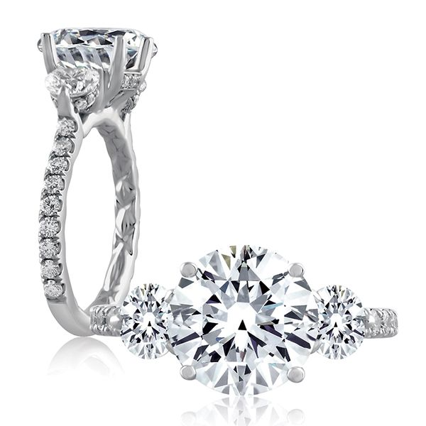 A. Jaffe Classics Three-Stone Diamond Engagement Ring Setting in White Gold Bremer Jewelry Peoria, IL
