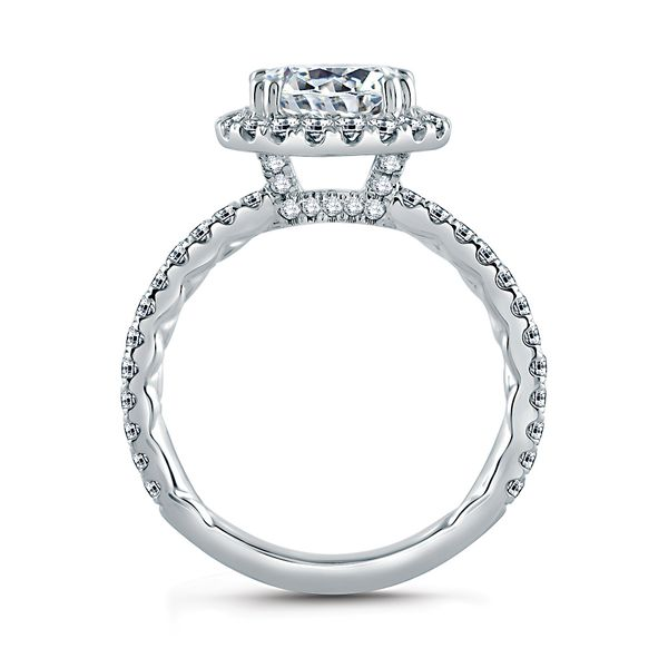 A. Jaffe Quilted East-West Diamond Engagement Ring Setting in White Gold Image 3 Bremer Jewelry Peoria, IL