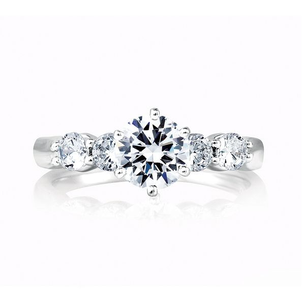 A. Jaffe Classics Diamond Engagement Ring Setting in White Gold Image 2 Bremer Jewelry Peoria, IL