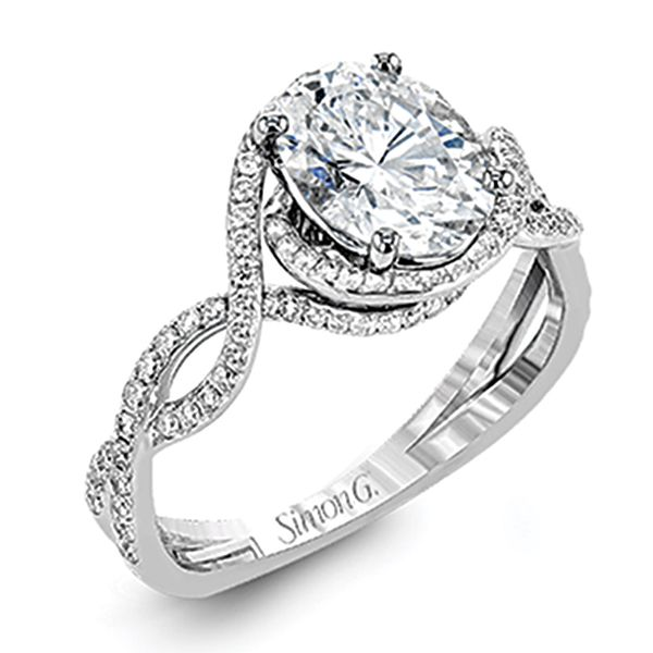 Simon G. Oval Diamond Engagement Ring Setting in White Gold Bremer Jewelry Peoria, IL