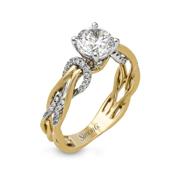 Simon G. Diamond Engagement Ring Setting in Yellow and White Gold Bremer Jewelry Peoria, IL