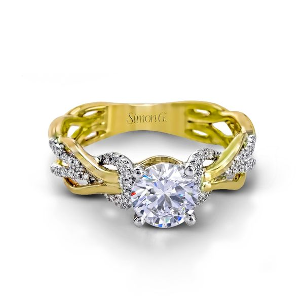Simon G. Diamond Engagement Ring Setting in Yellow and White Gold Image 2 Bremer Jewelry Peoria, IL