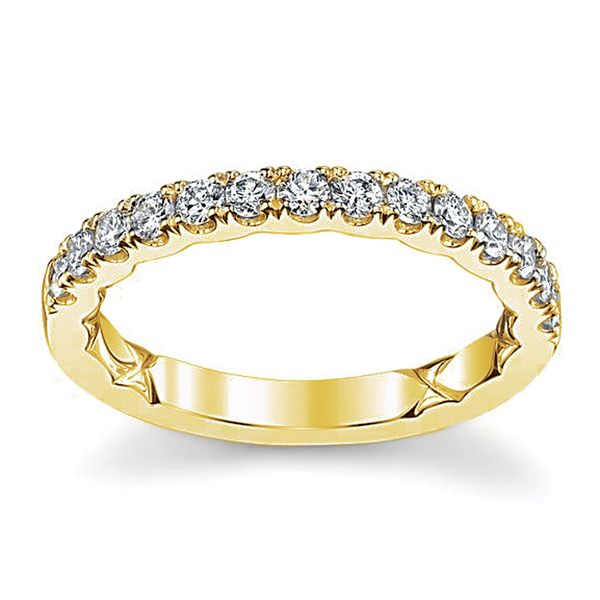 A.JAFFE Classic Quilted Diamond Wedding Band in Yellow Gold Bremer Jewelry Peoria, IL