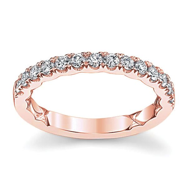 A.JAFFE Classic Quilted Diamond Wedding Ring in Rose Gold Bremer Jewelry Peoria, IL