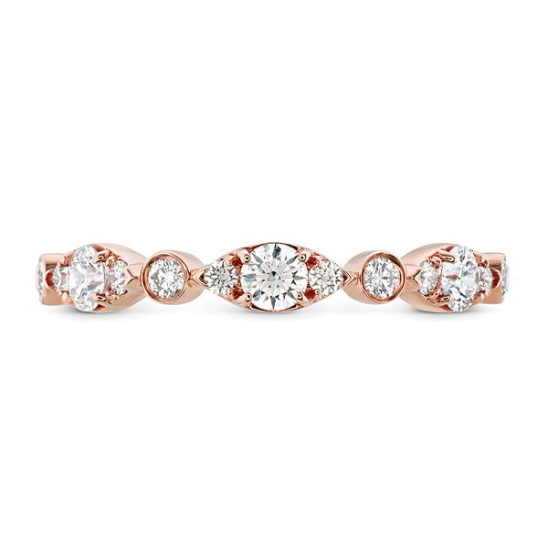 Hearts On Fire Bezel Regal Diamond Wedding Ring in Rose Gold Bremer Jewelry Peoria, IL