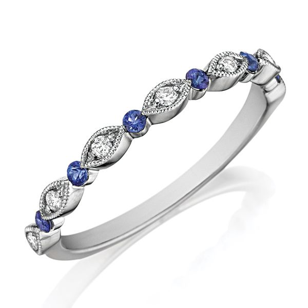 Henri Daussi Blue Sapphire and Diamond Wedding Band in White Gold Bremer Jewelry Peoria, IL