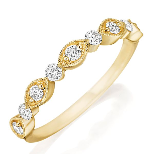 Henri Daussi Yellow Gold Diamond Wedding Band Bremer Jewelry Peoria, IL