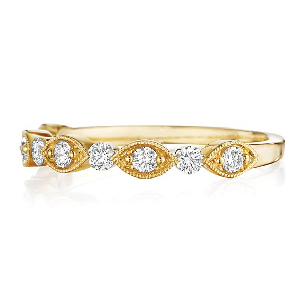 Henri Daussi Yellow Gold Diamond Wedding Band Image 2 Bremer Jewelry Peoria, IL