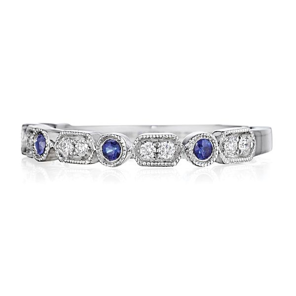 Henri Daussi Blue Sapphire and Diamond Wedding Band in White Gold Image 2 Bremer Jewelry Peoria, IL