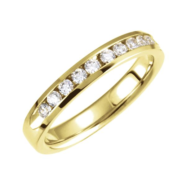 Channel Set 11-Diamond Anniversary Band in Yellow Gold (0.10ctw) Bremer Jewelry Peoria, IL