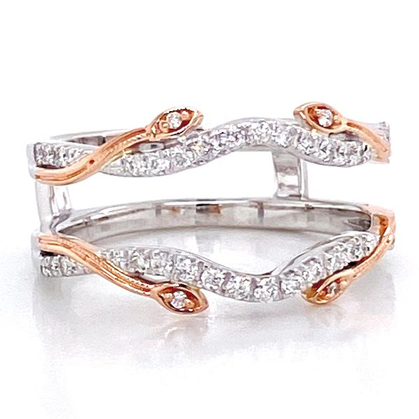 Vintage Floral Diamond Ring Guard in White and Rose Gold Image 2 Bremer Jewelry Peoria, IL