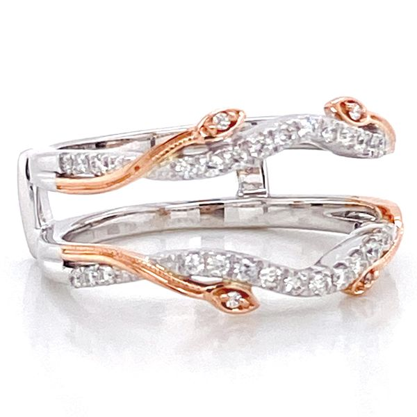 Vintage Floral Diamond Ring Guard in White and Rose Gold Image 3 Bremer Jewelry Peoria, IL
