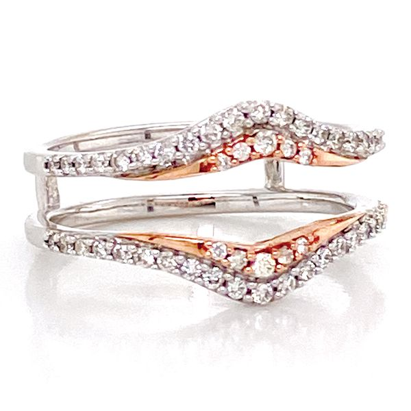 Classic Diamond Ring Guard in White and Rose Gold Image 2 Bremer Jewelry Peoria, IL