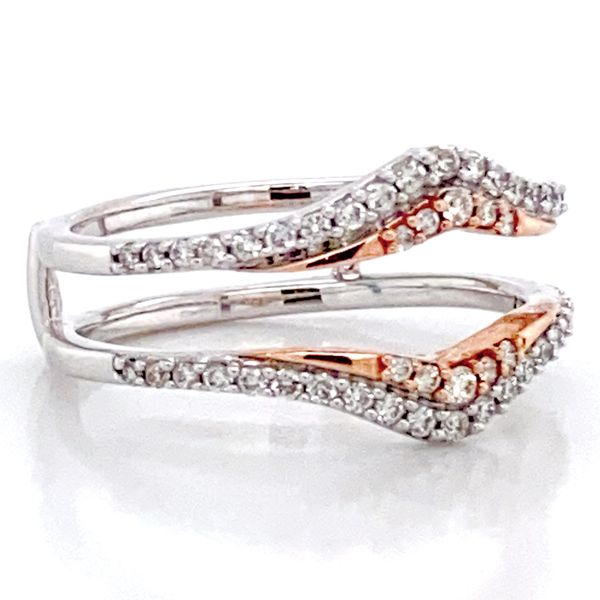 Classic Diamond Ring Guard in White and Rose Gold Image 3 Bremer Jewelry Peoria, IL