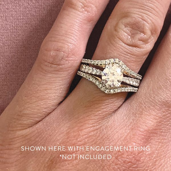 Classic Diamond Ring Guard in White and Rose Gold Image 4 Bremer Jewelry Peoria, IL