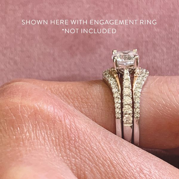 Classic Diamond Ring Guard in White and Rose Gold Image 5 Bremer Jewelry Peoria, IL