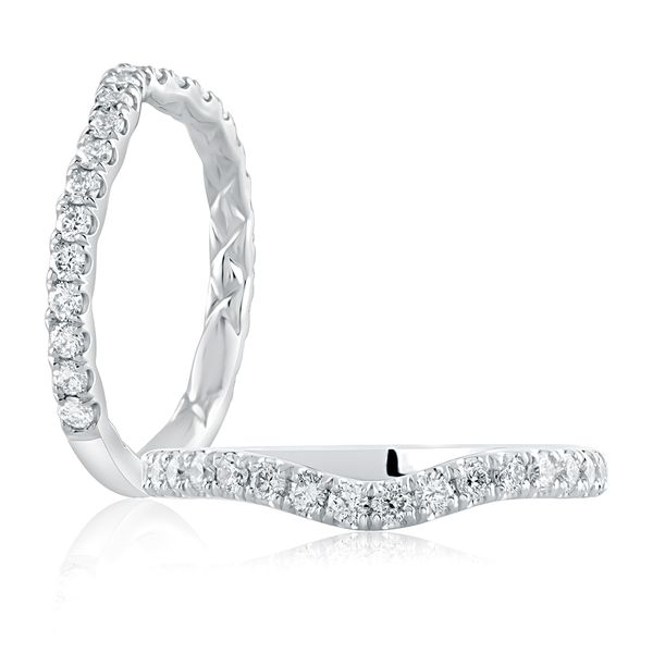 A. Jaffe Contour Diamond Wedding Band in White Gold Image 2 Bremer Jewelry Peoria, IL