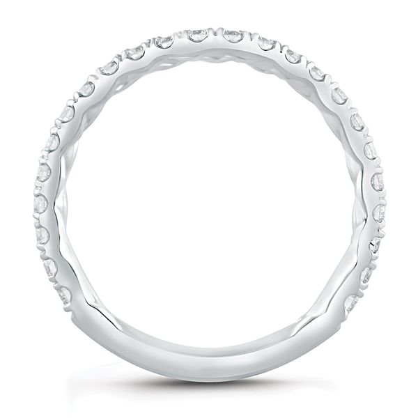A. Jaffe Contour Diamond Wedding Band in White Gold Image 3 Bremer Jewelry Peoria, IL