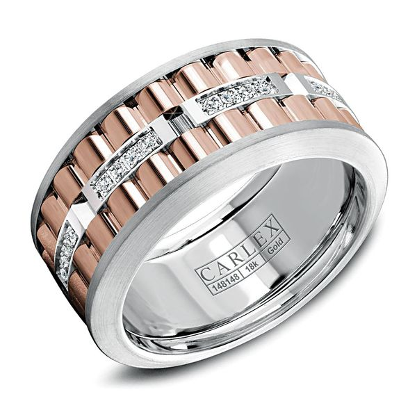 Carlex Diamond Two-Tone Wedding Band in Rose and White Gold (0.20ctw) Bremer Jewelry Peoria, IL