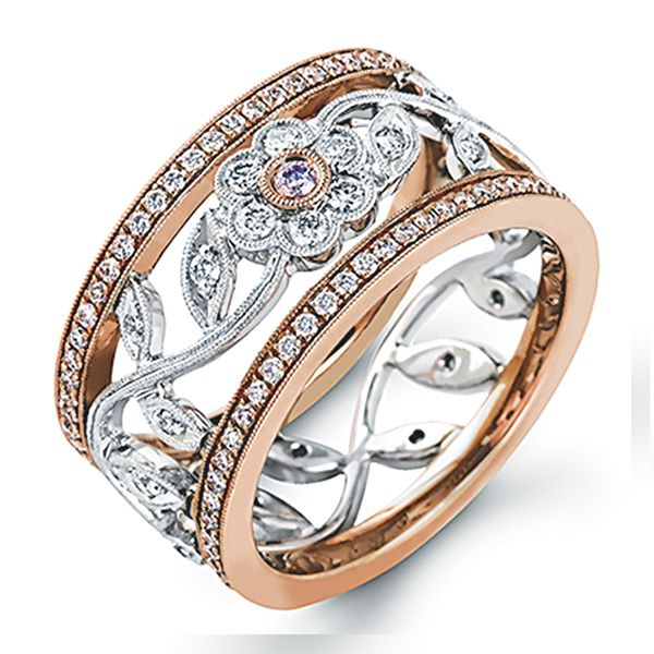 Simon G Floral Diamond Fashon Ring in Rose and White Gold Bremer Jewelry Peoria, IL