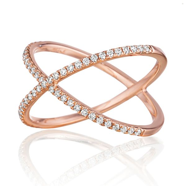 Henri Daussi Criss-Cross Diamond Ring in Rose Gold Image 2 Bremer Jewelry Peoria, IL
