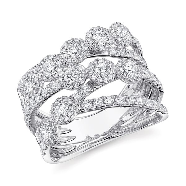 Center Of My World Wide Diamond Fashion Ring in White Gold Image 2 Bremer Jewelry Peoria, IL