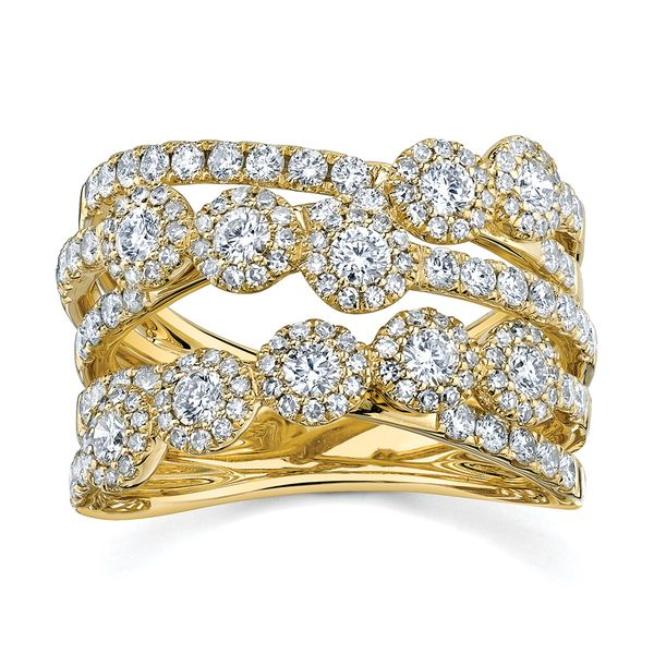 Center Of My World Wide Diamond Fashion Ring in Yellow Gold Bremer Jewelry Peoria, IL
