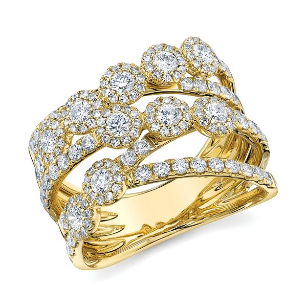 Center Of My World Wide Diamond Fashion Ring in Yellow Gold Image 2 Bremer Jewelry Peoria, IL