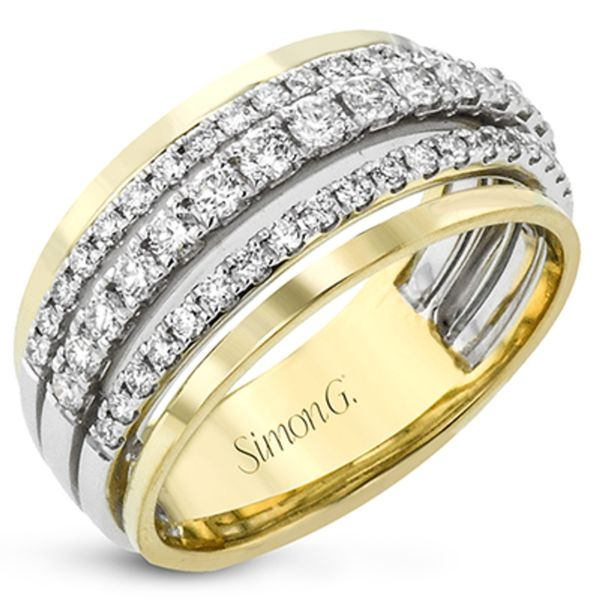 Simon G. Wide Diamond Ring in Yellow and White Gold Bremer Jewelry Peoria, IL