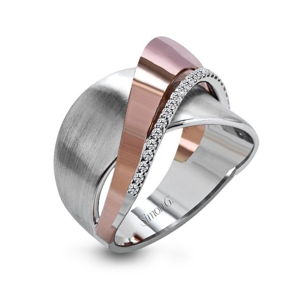 Simon G. Criss-Cross Diamond Ring in Rose and White Gold Bremer Jewelry Peoria, IL