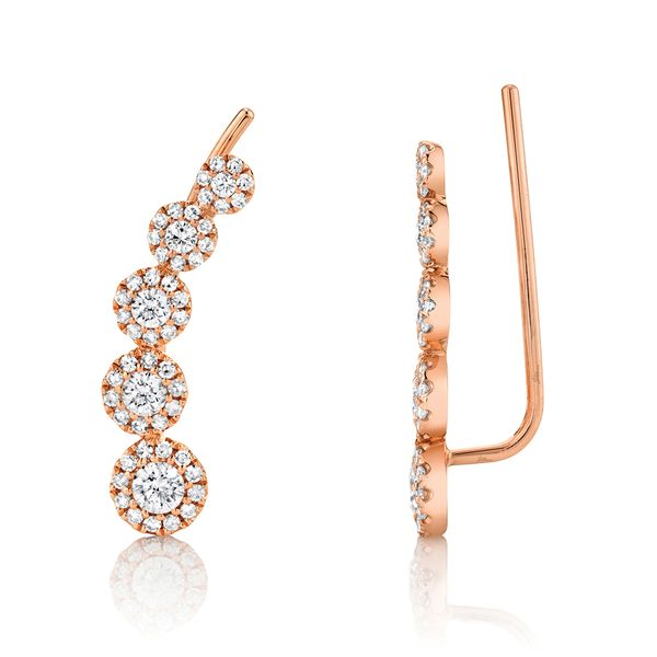 Center Of My World Five-Diamond Graduating Climber Earrings in Rose Gold Bremer Jewelry Peoria, IL