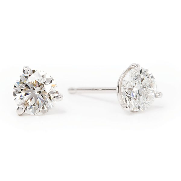 Three-Prong Round Diamond Studs in White Gold (9/10 ctw) Bremer Jewelry Peoria, IL