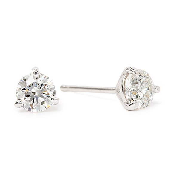 Three-Prong Round Diamond Studs in White Gold (5/8 ctw) Bremer Jewelry Peoria, IL