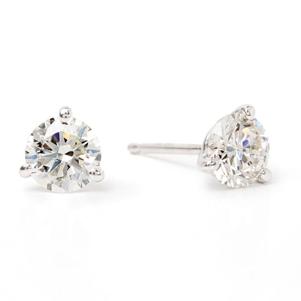 Three-Prong Round Diamond Studs in White Gold (1 ctw) Bremer Jewelry Peoria, IL