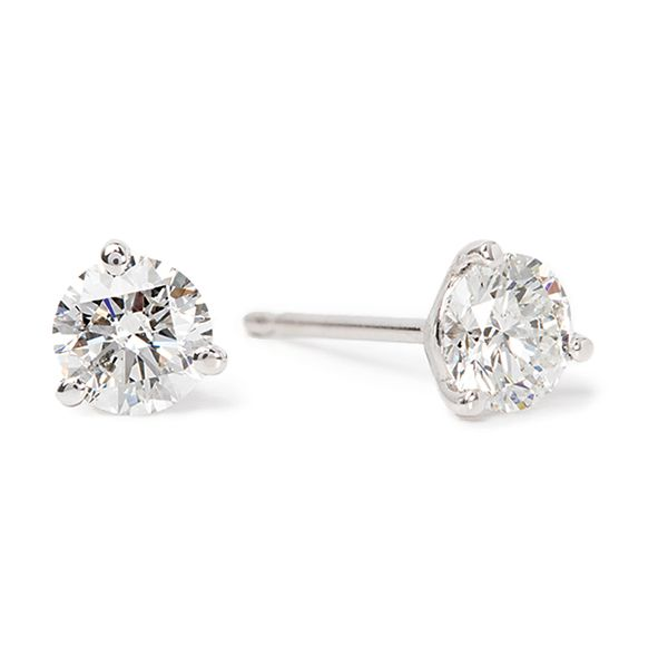 Three-Prong Round Diamond Studs in White Gold (3/4 ctw) Bremer Jewelry Peoria, IL
