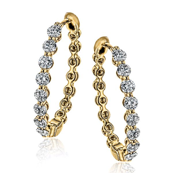 Simon G Diamond Hoops in Yellow Gold Bremer Jewelry Peoria, IL