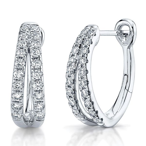 Diamond and White Gold Split Hoop Earrings Bremer Jewelry Peoria, IL