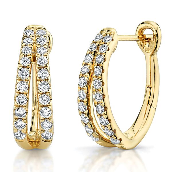 Split Hoop Diamond Earrings in Yellow Gold Bremer Jewelry Peoria, IL