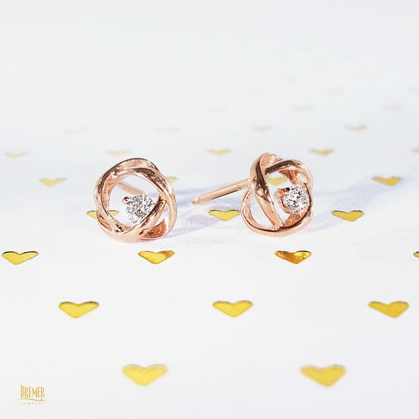 Time and Eternity Diamond Stud Earrings in Rose Gold Image 2 Bremer Jewelry Peoria, IL