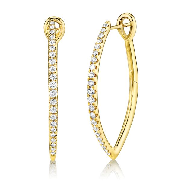 Large Pointed Diamond Hoop Earrings in Yellow Gold Bremer Jewelry Peoria, IL