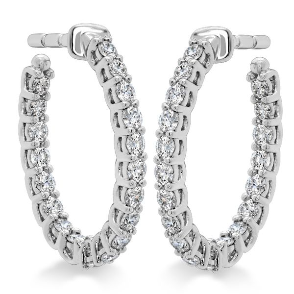 Hearts on Fire Small Signature Oval Diamond Hoops in White Gold Bremer Jewelry Peoria, IL