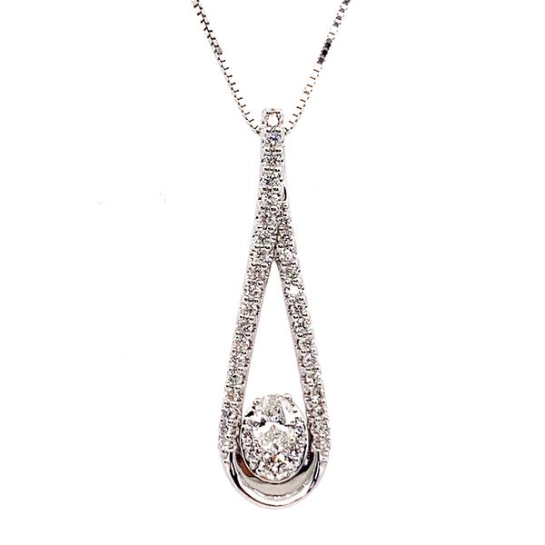 Elongated Oval Shaped Diamond Necklace in White Gold Bremer Jewelry Peoria, IL