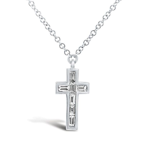 By My Side Baguette Diamond Cross Necklace in White Gold Bremer Jewelry Peoria, IL
