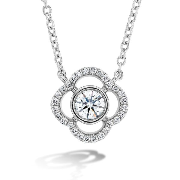 Hearts On Fire Signature Petal Bezel Necklace in White Gold Bremer Jewelry Peoria, IL