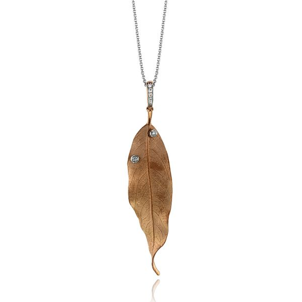 Simon G. Large Leaf Necklace with Diamonds in Rose Gold Bremer Jewelry Peoria, IL