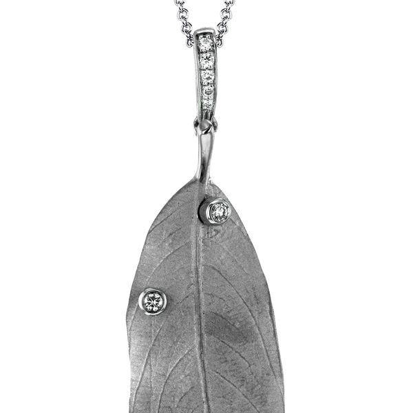 Simon G. Large Leaf Necklace with Diamonds in White Gold Image 2 Bremer Jewelry Peoria, IL